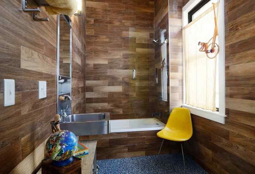Дизайн ванной комнаты с линолеумом