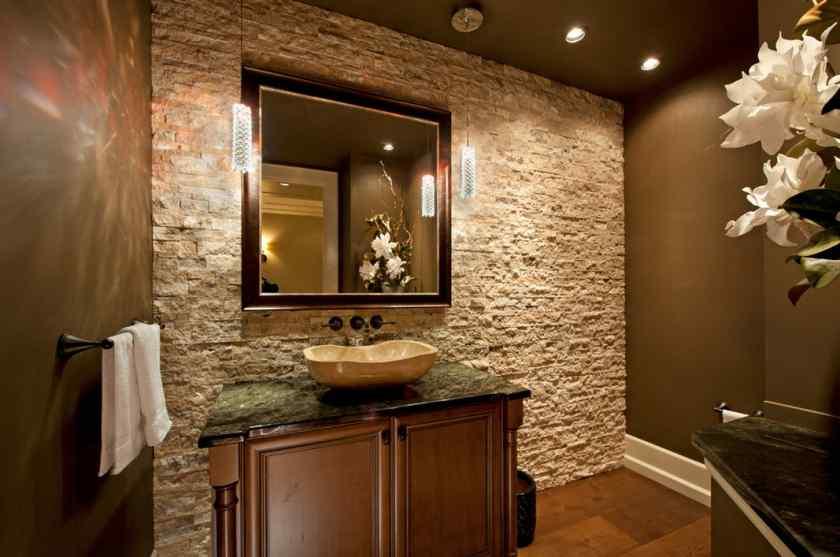 Искусственный камень в дизайне ванной комнаты