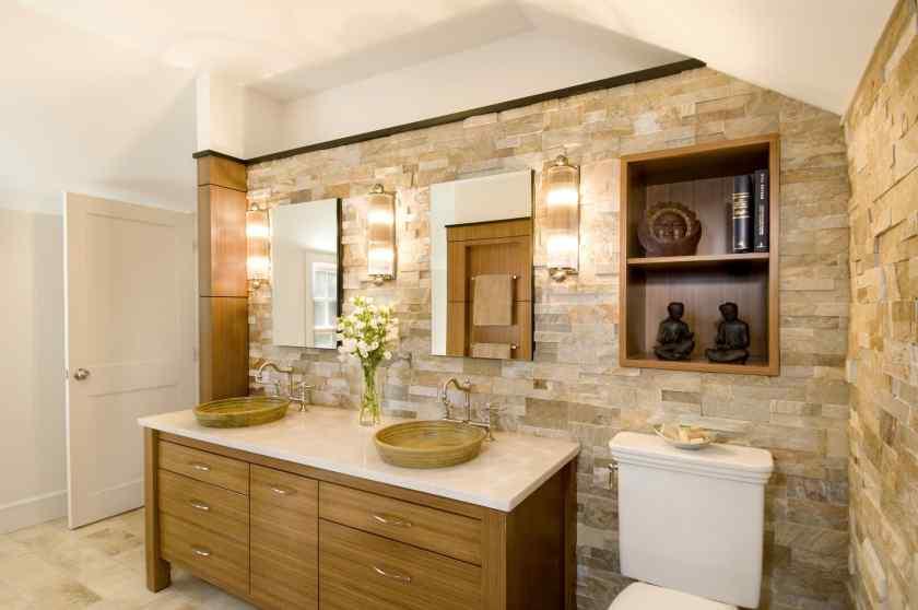 Искусственный камень в дизайне ванной