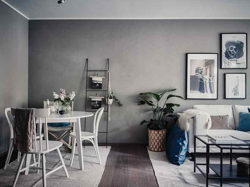 Серая комната в скандинавском стиле