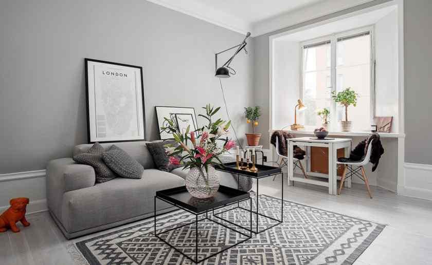 Серая квартира в скандинавском стиле