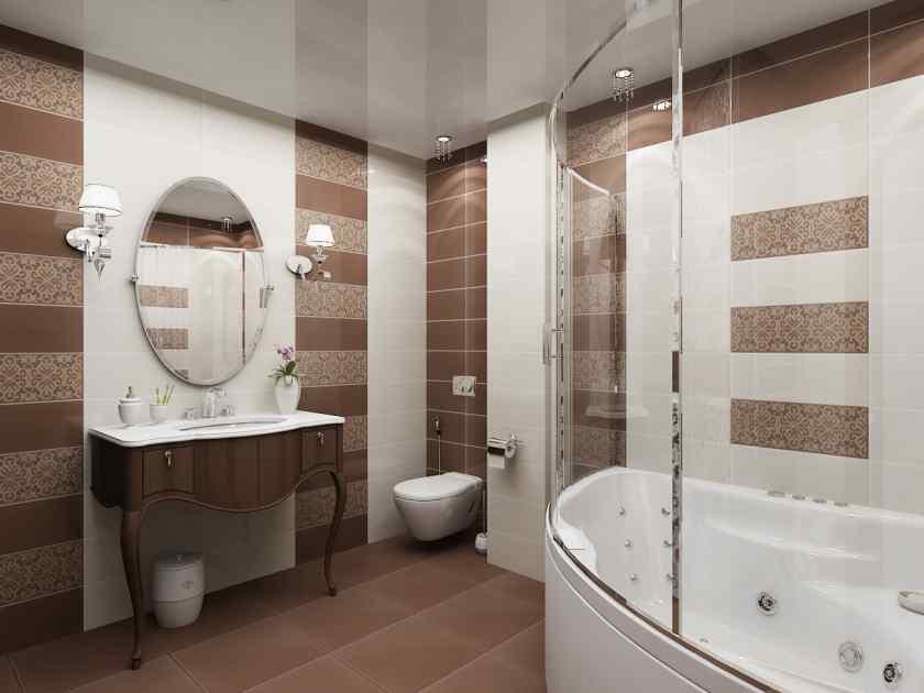 Плитка в дизайне ванной комнаты